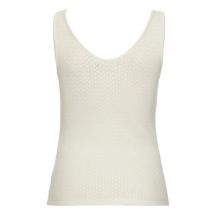 Regata Tricot Rendado Decote V Off White